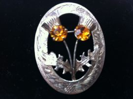 Vintage Sterling Silver Yellow Jewelled Thistles Brooch - Scottish Pin dated 1960 (SOLD)
